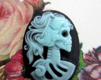 6 Cameo lady skull blue black Lolita skull cabochon 18mm 25mm Gothic jewelry making day of the dead (M4)