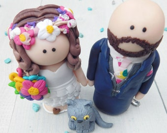 Bespoke Bride and Groom Wedding Cake Toppers