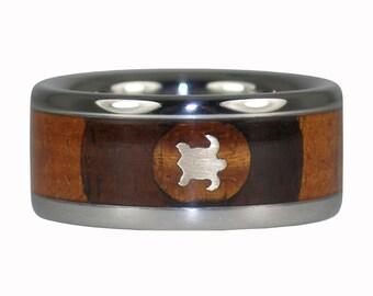 Gold Turtle Milo Wood Titanium Ring