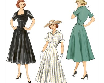 Retro 1952s Dress Pattern - Butterick B6018 -Fitted Bodice with Flared Skirt  US Sizes  6 -8 -10 -12 -14 or 14 -16 -18 -20 -22