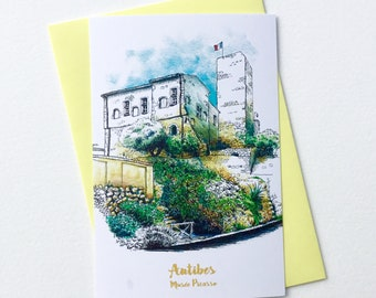 Illustrated Postcard of the Picasso Museum in Antibes, ink and watercolor
