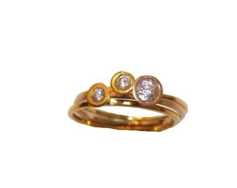 Three stacking rings, white Diamonds stacking rings,white diamond wedding rings,diamond engagement rings set,wedding set,trio wedding rings