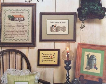 Country Crossroads/Counted Cross Stitch Patterns by Together We Count/ Samplers/Clocks/Wall Hangings/1981