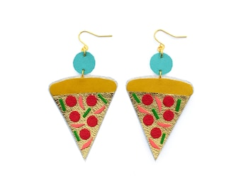 Pizza Earrings, Gold Earrings, Pop Art Earrings, Leather Earrings, Statement Earrings, Food Earrings, Pizza Jewelry, Fast Food Jewelry