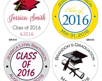 120 Custom Glossy Graduaton Stickers Labels Seals 1.5 inch round or square - hundreds of designs to choose from - any size/ shape available