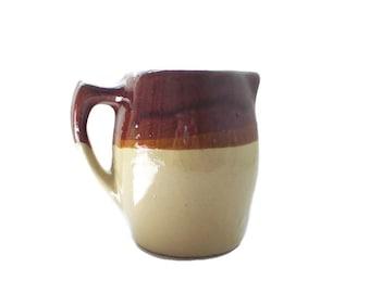 Rustic Brown Drip Glaze Pottery Pitcher Rustic French Farmhouse Kitchen Decor Primitive Kitchenware Milk Pitcher
