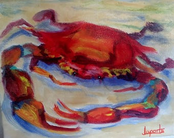 "Original Art Free Domestic Shipping New Orleans Painting New Orleans Art NOLA Art 8"" x 10"" ""Louisiana Red Crab"""