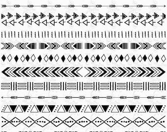 "Tribal Borders ""AZTEC BORDERS"" Clipart, Aztec Ribbon, Ethnic Borders, Native American Borders, Borders.13 images Png files 300 dpi. Trb010"