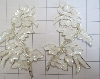 Pair of Mirrored White and Silver Sequins Appliques Sew on A-15