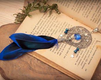 Boho Necklace, Feather Necklace, Dreamcatcher necklace, Fantasy Necklace, Witchy necklace, Mother's Day Gift, Steampunk Necklace