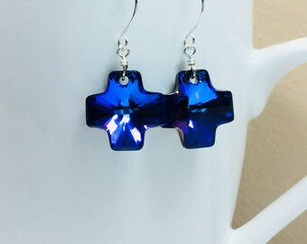 Swarovski Heliotrope Cross Crystal Drop Earrings, Heliotrope Cross Jewelry, Swarovski Cross Earrings, Women, Drop Earrings, Crystal Jewelry