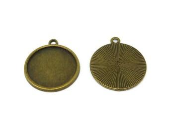 Antique Bronze Bezel - 20mm Tray - Cabochon Setting - Starburst back - Blank - 26mm x 23mm x 2mm - 75 50 20 10 or 5 - pendant bezel cup