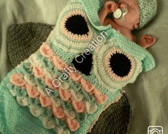 Owl Cocoon--Crochet Owl ---Crochet Owl Cocoon--Crochet owl Blanket--Owl Blanket