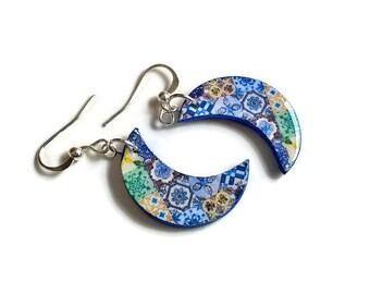 Portugal moon earrings, crescent moon jewelry, moon dangle earrings, moon phase, crescent moon earrings, vintage tile jewelry, crescent moon