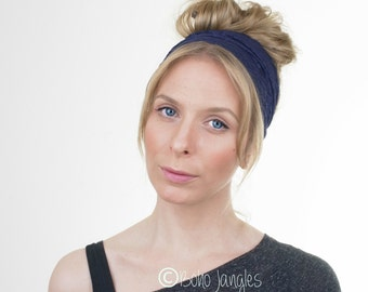 Navy Blue Lace Headband, Wide Lace stretchy Headband Hairband, Rustic Wedding, Elastic Headband, Womens Headband