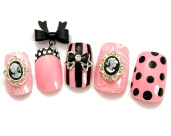 Pink and Black Kawaii Lolita Press On Nails | Gyaru Hime Cosplay Press On Nails | Kawaii Japanese Style Nails | Square Coffin Stiletto Nails