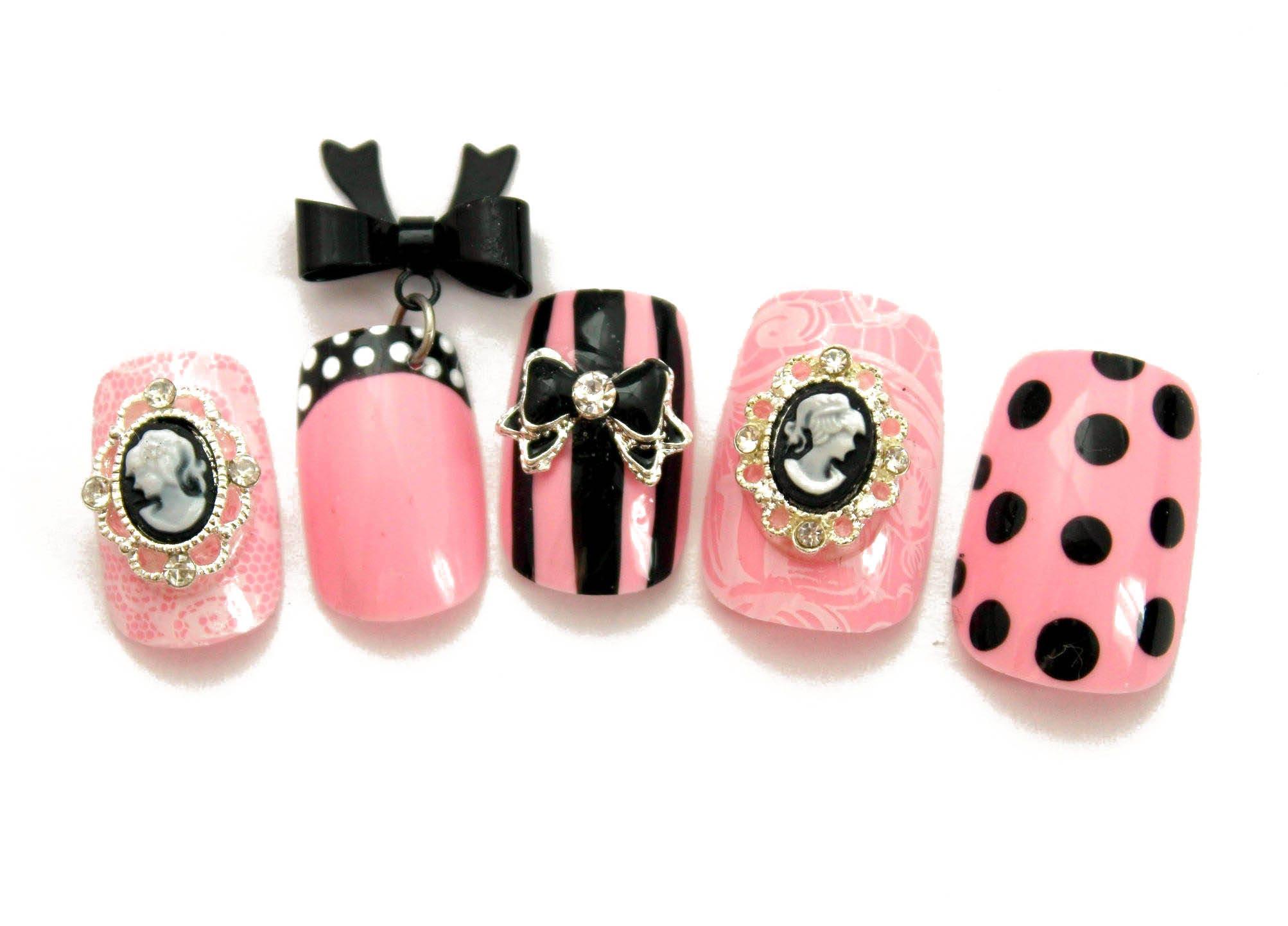 Pink and Black Kawaii Lolita Press On Nails | Gyaru Hime Cosplay ...