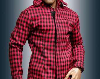 mc0393 Men's Slim Fit  Red Black Checker Shirt for 1/6 Action Figure (Shirt ONLY)