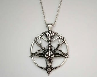 Baphomet Pendant Necklace. Silver Plated. 18 Inch Chain. Satan. Devil. Sigil Of Baphomet. Knights Templar. Sabbatic Goat.