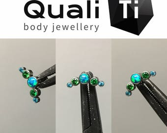 "The ""Jade Sea"" opal and cubic zirconia 5 stone cluster and labret"