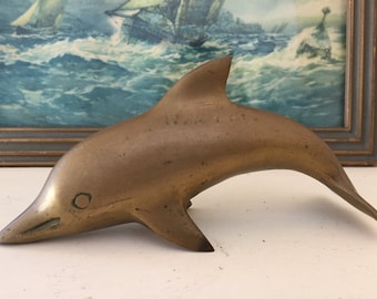 Brass Dolphin Figurine / Paperweight / Nautical Collectible
