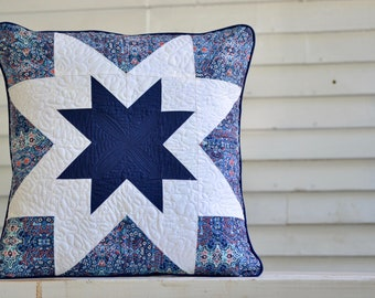 Blue Quilted Star Pillow // 18 x 18 Quilted Pillow Cover // Patriotic Decor // Double Star