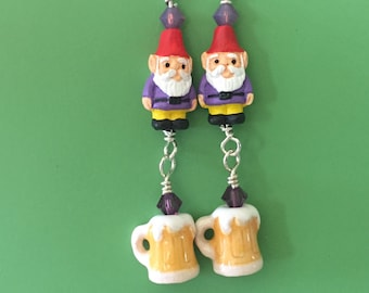 Purple Gnome Beer Earrings