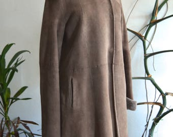 Brown Shearling Hooded Coat, size Small