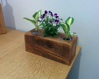 Reclaimed Oak beam indoor and outdoor planter for succulents and potted plants