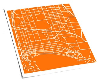 Long Beach City Map Wall Poster / CSULB Cal State University Line Art Grad Gift / 8x10 Digital Print / Personalized colors