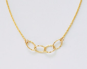 Sentiment necklace - delicate simple hammered oval gold links on gold filled chain - gift for her
