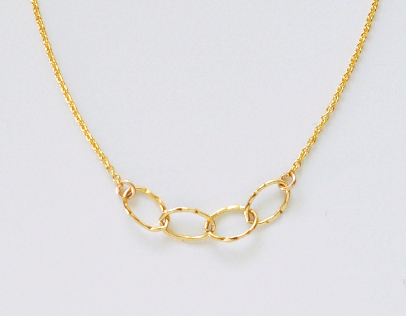 Sentiment necklace delicate simple hammered oval gold links