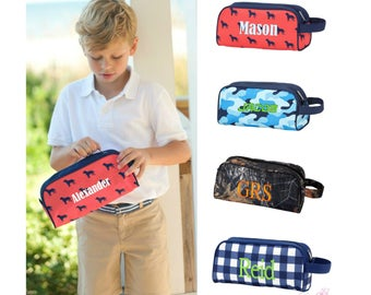 Personalized Toiletry Bag Mens Boys Travel Pouch Monogrammed Embroidered Tan Brown Shark Plaid Navy Green Natural Camo Woods Black