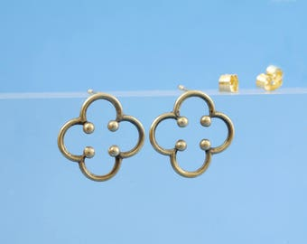 Stud earrings silver plated in the Middle Ages style, sterling silver gold plated in the form of a gothic rosette