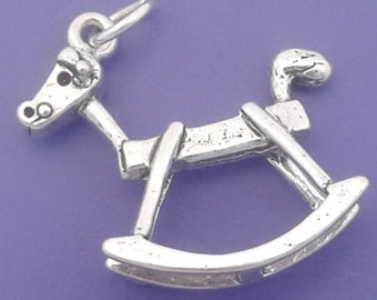 ROCKING HORSE Charm .925 Sterling Silver, Baby, Child, Toy Pendant - lp1220