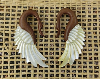 Winged Swans,  5mm Gauges, Recycled Wood , Free Shipping, Free Shipping