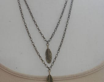 Feather Charm Necklace Bronze Necklace Boho Style Bohemian Necklace Gift Ideas Gift For Her