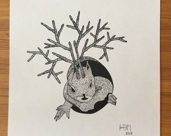 Squirrel with horns. Original ink drawing on watercolor paper. 30x30cm.