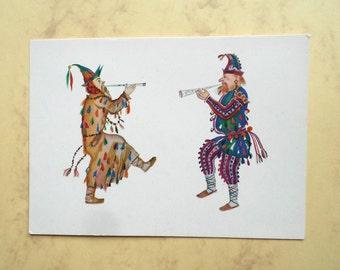 """V. Ryndin """"Skomorokhs. Sketch of the costumes for """"Snegurochka"""" by A. Ostrovsky"""" Postcard , 1966"""