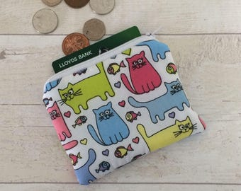 Cute cat purse, cat money purse, cat coin purse, money pouch, small zipper pouch, coin pouch, gift, cat purse