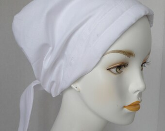 Solid White Cancer Chemo Hat Scarves Head Wrap Hair Loss Turban Bad Hair Day Headcovering