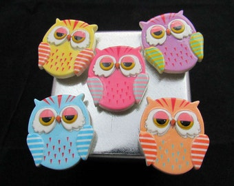 Fridge magnets, Free Shipping, Cute Owl Magnets, kawaii magnets, teacher gift, fridge magnet, cute magnets, cute fridge magnets 616