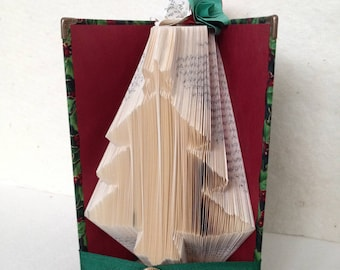 Folded Book Art Christmas Tree Fabric Covered