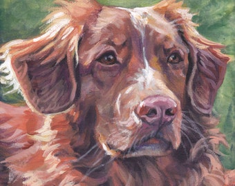 Nova Scotia Duck Tolling Retriever TOLLER dog ART canvas PRINT of LAShepard painting 8x8""