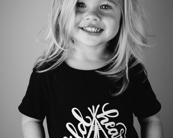 Wild Heart Children's Black & White Kids Tee Shirt - Size 4 4t - Hand lettered Kid Cotton Tshirt by Dear Seed - DearSeed -  Kid Shirt