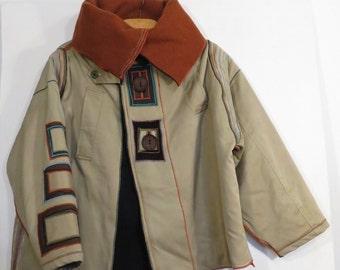 Woman jacket, khaki jacket, padded jacket, upcycled trench, selling OUT winter stuff 30% OFF!!!