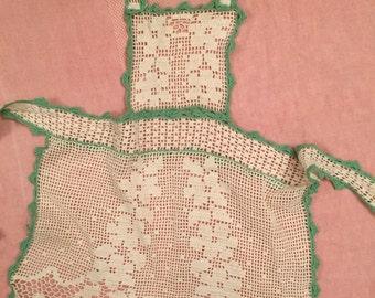 Vintage Crocheted Apron Girl's Apron Child's Apron Hand Made Green and White Lovely Gift for Little Girl Granddaughter