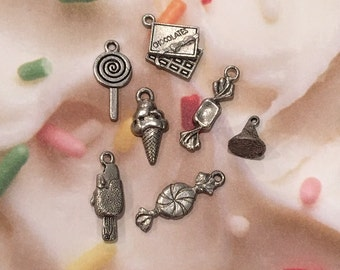 Set of Candy Sweets Charms -7 pieces-(Antique Pewter Silver Finish)