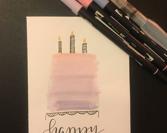Birthday card ombré cake hand lettered