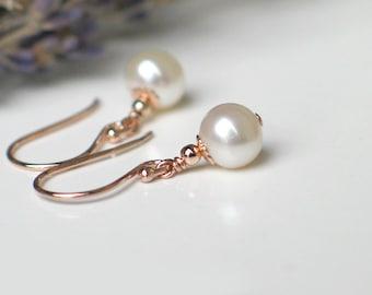 Pearl Earrings | 6mm White Freshwater Pearls | 14k Rose Gold Filled | Leverbacks | Petite Pearl Dangles | Birthday Gift | Everyday Pearl